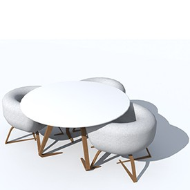 Cocoon chairs and table 3d object free artlantis objects download