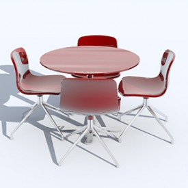 MP table wi AAC10 chairs 3D Object | FREE Artlantis Objects Download