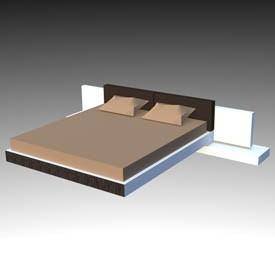 Wenge bed with bedsi 3d object free artlantis objects for Miroir wenge ikea
