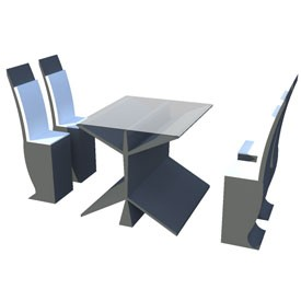 Dining Set 3D Object | FREE Artlantis Objects Download